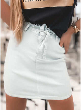 Polyester Plain Mini Bodycon Skirts