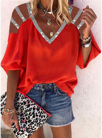 Solid Sequins Cold Shoulder 3/4 Sleeves Casual Blouses
