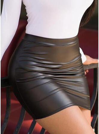Polyester Color Block Above Knee Bodycon Skirts