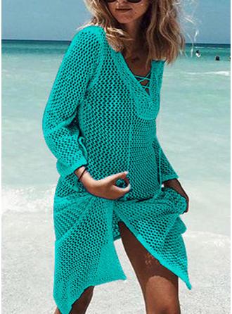 Solid Color Long Sleeve V-Neck Elegant Cover-ups Swimsuits