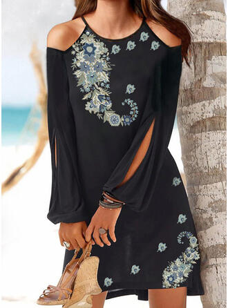 Print/Floral Long Sleeves/Split Sleeve Shift Knee Length Vacation Tunic Dresses