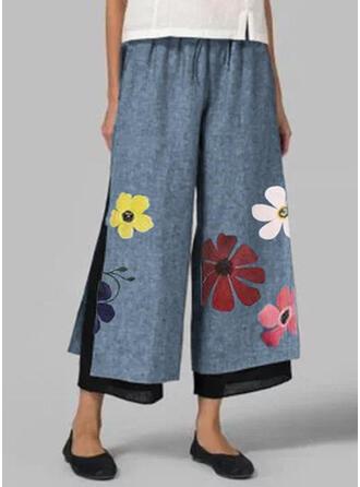Print Plus Size Casual Floral Lounge Pants