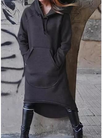 Einfarbig Lange Ärmel Shift Sweatshirt Freizeit Midi Kleider