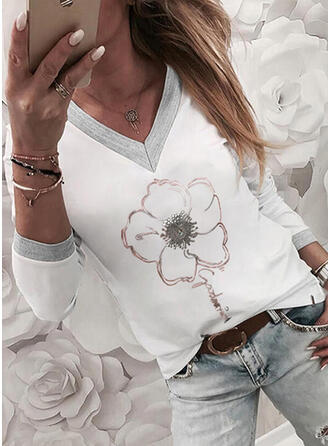 Figure Floral Print V-Neck Long Sleeves T-shirts