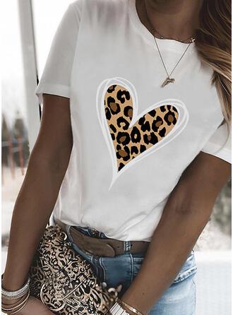 Leopard Heart Print Round Neck Short Sleeves T-shirts