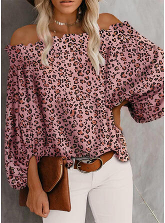 Leopard Off the Shoulder 3/4 Sleeves Casual Blouses