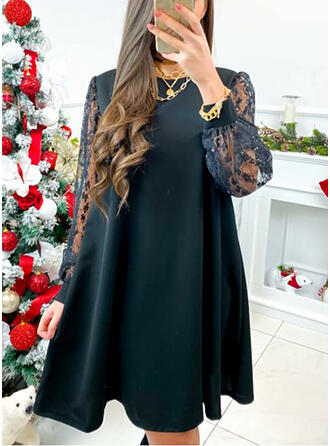 Lace/Solid Long Sleeves Shift Knee Length Little Black/Elegant Tunic Dresses