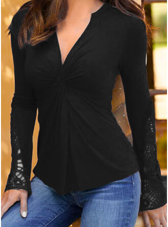 Solid Lace V-Neck Long Sleeves Elegant Blouses