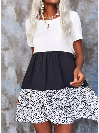 Print/Color Block Short Sleeves Shift Above Knee Casual Dresses