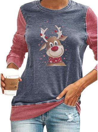 Farbblock Tierdruck Rundhals Lange Ärmel Weihnachts-Sweatshirt