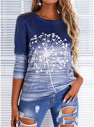 Print Dandelion Round Neck Long Sleeves Casual Blouses