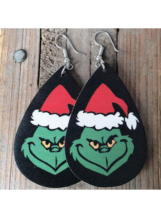Drop Shape Christmas Grinch PU Women's Earrings 2 PCS