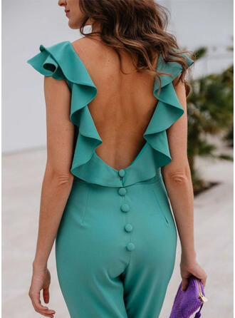 Einfarbig Rundhalsausschnitt Ärmellos Lässige Kleidung Sexy Overall
