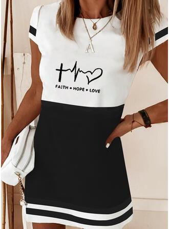 Print/Color Block/Heart/Letter Short Sleeves Shift Above Knee Elegant Dresses