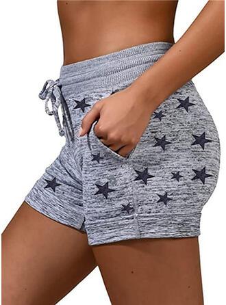 Geometric Print Plus Size Drawstring Casual Sporty Shorts