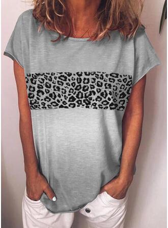 Leopard Round Neck Short Sleeves T-shirts