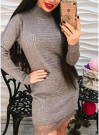 Einfarbig Spitze Stehkragen Freizeit Lang Pulloverkleid