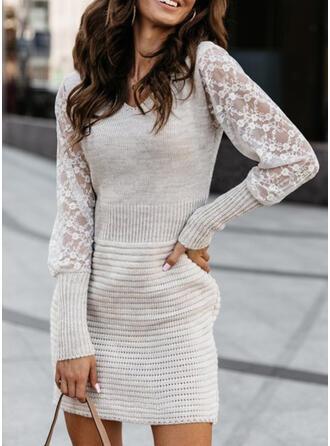 Einfarbig Spitze V-Ausschnitt Freizeit Lang Pulloverkleid