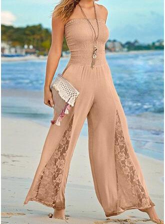 Spitze Einfarbig Trägerlos Ärmellos Lässige Kleidung Urlaub Sexy Overall