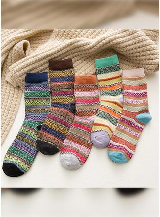 Gestreift/Geometrische drucken/Bunt Warmen/Atmungsaktiv/Komfortabel/Crew Socks Socken (Satz von 5 Paaren)