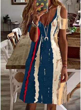 Print/Color Block Short Sleeves Cold Shoulder Sleeve Shift Above Knee Casual/Vacation Dresses