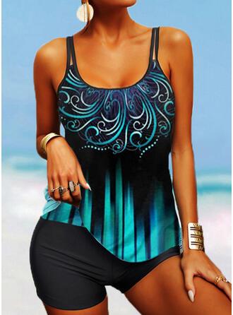 Stripe Print V-Neck Boho Tankinis Swimsuits
