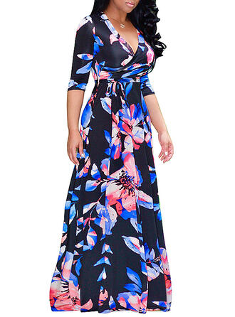 Plus Size Floral Print 1/2 Sleeves A-line Maxi Casual Elegant Dress