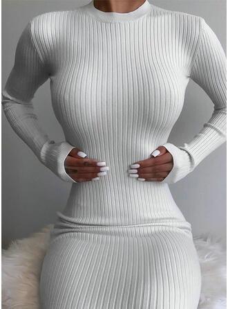 Einfarbig Lange Ärmel Figurbetont Sexy/Freizeit Midi Kleider