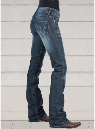 Pockets Shirred Plus Size Elegant Vintage Denim & Jeans