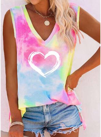 Heart Print Tie Dye V-Neck Sleeveless Tank Tops