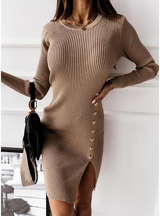 Einfarbig Rundhalsausschnitt Lang Eng Pulloverkleid
