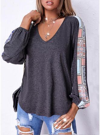 Print V-Neck Long Sleeves Raglan Sleeve Casual Blouses