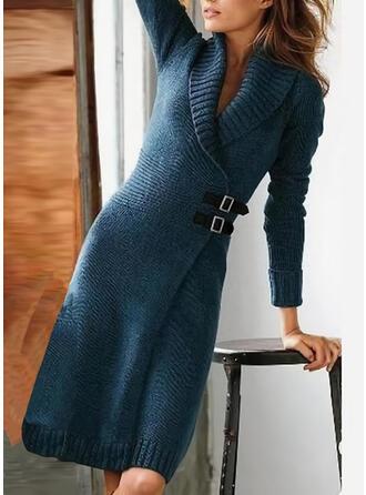 Einfarbig Lange Ärmel Etui Knielang Freizeit Pullover Kleider