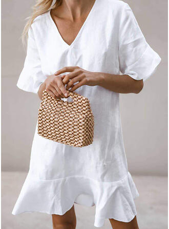Solid Short Sleeves/Flare Sleeves Shift Above Knee Vacation Tunic Dresses