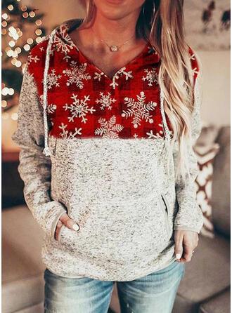 Drucken Gitter Lange Ärmel Weihnachts-Sweatshirt
