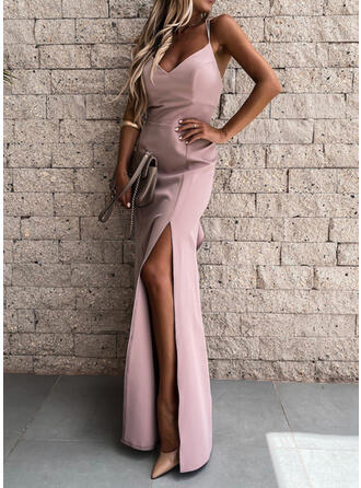 Solid/Backless Sleeveless Sheath Slip Sexy/Party Maxi Dresses