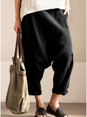 Einfarbig Shirred Übergröße Lange Lässige Kleidung Sportlich Hosen