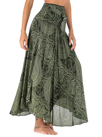 Chiffon Print Maxi A-Line Skirts