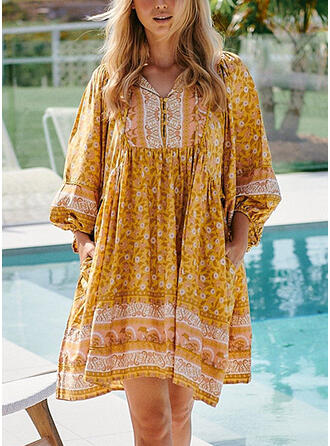 Print Long Sleeves/Lantern Sleeve Shift Above Knee Boho/Vacation Tunic Dresses