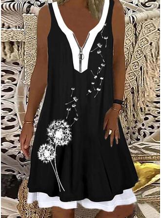 Print/Color Block Sleeveless Shift Knee Length Casual/Vacation Tank Dresses