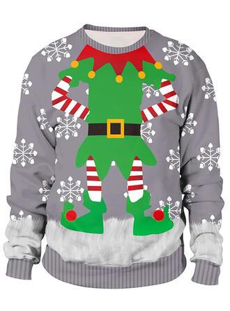 Unisex Baumwollmischungen Drucken Weihnachts-Sweatshirt