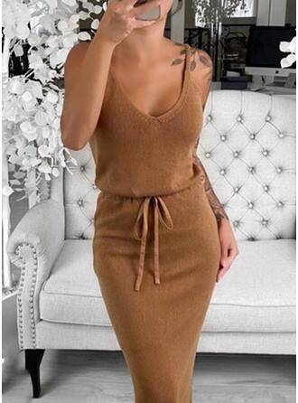 Einfarbig Ärmellos Figurbetont Knielang Sexy/Freizeit Pullover Kleider