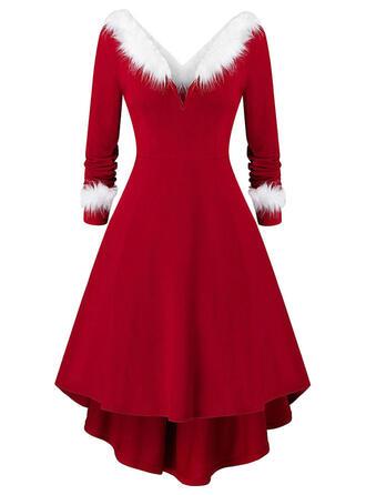 Einfarbig Lange Ärmel A-Linien Knielang Weihnachten/Party Skater Kleider