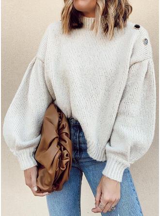 Einfarbig Stehkragen Freizeit Pullover