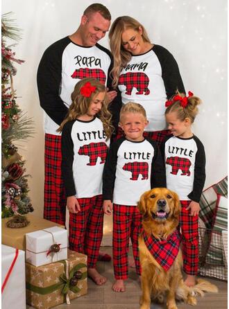 Hirsch Bär Karierte Schreiben Passende Familie Christmas Pajamas