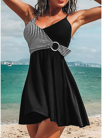 Stripe Strap V-Neck Sexy Elegant Swimdresses Swimsuits