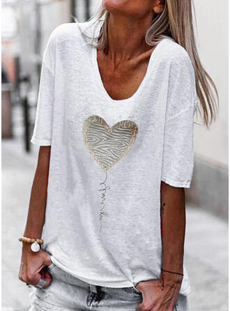 Figure Heart Print V-Neck 1/2 Sleeves T-shirts