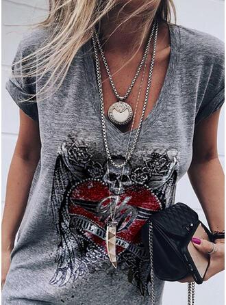 Print Figure Heart V-Neck Short Sleeves Casual T-shirts