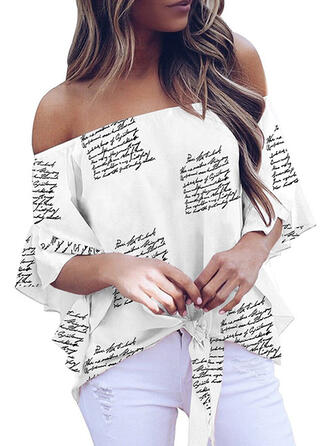 Print Figure Off the Shoulder Flare Sleeve 3/4 Sleeves Casual Blouses