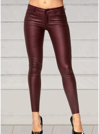 Solid Shirred Plus Size Sexy Leather Vintage Pants Leggings
